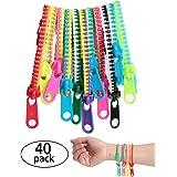 SBYURE 40Piece Friendship Fidget Zipper Bracelet Neon Colors Sensory Bracelet Bulk Set Party Toys for Students Kids Birthday,