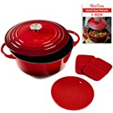 Uno Casa Enameled Cast Iron Dutch Oven with Lid - 6 Quart Enamel Coated Cookware Pot, Long-Lasting, Naturally Non-Stick Ename