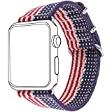 Bandmax Nylon Band Compatible Apple Watch 38MM/40MM, American Flag Nylon Fabrics Replacement Strap Accessories Compatible iWa