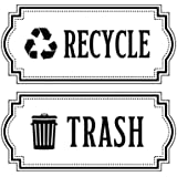 Recycle and Trash Logo Symbol - Elegant Golden Look for Trash Cans, Containers, and Walls - Laminated Vinyl Decal (Small, Bla
