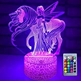Night Light 16 Colours Changing 3D Optical Illusion Bedside Lamps with Remote Best Gift Idea for Kids Room Decor or Birthday