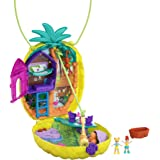 Polly Pocket Tropicool Pineapple Wearable Purse Compact with 8 Fun Features, Micro Polly and Lila Dolls, 2 Accessories and St