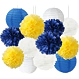Furuix White Navy Yellow 10inch Tissue Paper Pom Pom 8inch Paper Lanterns Mixed Package for Navy Blue Party Wedding Paper Gar