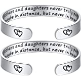 Hazado 2Pcs Mother Daughter Bracelet Mothers and Daughters Maybe in Distance But Never Truly Part Cuff Bangle Bracelets