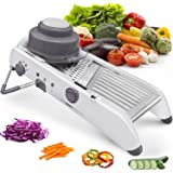 Amazer Tec Mandoline Slicer Stainless Steel Vegetable Julienner Built-in Adjustable Safe Blades Grater, Professional Multifun