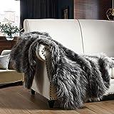 Luxury Faux Fur Throw Blanket, Grey and Black High Pile Mixed Throw Blanket, Super Warm, Fuzzy, Elegant, Fluffy Decoration Bl