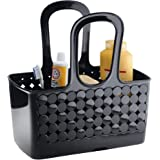 InterDesign Orbz - Shower Tote Holder and Organizer for Shampoo, Cosmetics, Beauty Products - Black - Small/Divided: 11.75 x