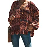 Tiksawon Women's Floral Print V Neck Long Sleeve Shirts Tops Casual Loose Boho Blouses