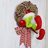 RUIFENG Christmas Wreath Burlap, How The Grinch Stole Christmas Burlap Wreath,Creative Christmas Wreaths for Decor(14 in)
