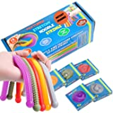 Durable Textured (Patent Pending) Stretchy String Fidget and Sensory Toy - 15 Packs of Individually Packaged Monkey Noodles -