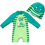 Baby boy One Pieces Swimsuit Long Sleeve UPF 50+ Sun Protection (6-9 Months, Green)
