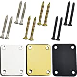 TIHOOD 3PCS Neck Plate Fender With Crews Chrome for Electric Guitar Part