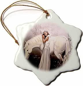 3Dローズ 神話 - 少女とユニコーン- 装飾 - 7.6センチ(3 インチ) スノーフレーク磁器飾り - orn_872_1 (並行輸入)