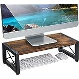 Vintage Wood Monitor Stand Riser, 17.7 Inch Desktop Shelf Storage Organizer, Ergonomic Desk & Tabletop Organizer Desktop Stan