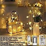 POP Mart Star Lights 80 LED Star Christmas Lights 34FT Twinkle Fairy String Lights USB Battery Operated Waterproof Star Decor