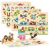 CORPER TOYS 木製 型はめ おもちゃ パズル 形合わせ 積み木 形認識 英語 5種類シリーズ 男の子 女の子 カラフル プレゼント クリスマス
