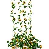 BEFINR 2 Pack 7.2FT Artificial Sunflower Vine Sunflower Garland Silk with Garden Craft Art Party Home Wedding Decor Sunflower