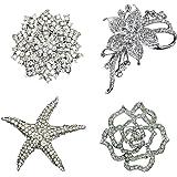 Ezing 4Pcs Brooch Lot Large Big Size Rhinestone Crystal Fashion Jewelry