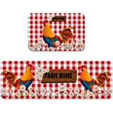 Farmhouse Rooster Vintage Daisy Kitchen Anti Fatigue Kitchen Rug Set 2 Pieces Cushioned Kitchen Floor Mats Comfort Soft Stand