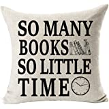 Book Lover Book Club Librarian Reading Funny Sayings So Many Books So Little Time Cotton Linen Throw Pillow Case Cushion Cove