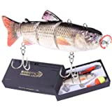 """Robotic Swimming Fishing Electric Lures 5.12"""" USB Rechargeable LED Light 4-Segement Wobbler Multi Jointed Swimbaits Hard Lure"""