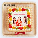 写真ケーキ スクエア型(5号14cm) ビスキュイ付きフレッシュフルーツ乗せフレッシュ生クリームショートケーキ
