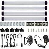 AIBOO Dimmable LED Under Cabinet Lighting Under Counter LED Light Bar Linkable Kit with Rocker Switch Kitchen,Showcase,Shelf