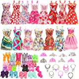 Barwa 32 Accessories for 11.5 Inch Doll Clothes : 10 Clothes Dresses + 10 PCS Shoes + 6 Crowns + 6 Necklace