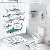 4 Pcs Shark Shower Curtain Sets with Non-Slip Rugs, Toilet Lid Cover and Bath Mat, Fish Sea Life Shower Curtains with 12 Hook