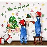 Christmas Wall Stickers Christmas Tree Snowflakes Snowman