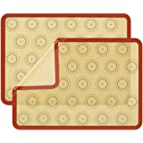 Silicone Baking Mats- Set of 3, Reusable Food-Safe Silicone Fiberglass Baking Mat, Silicone Liner for Bake Pans and Rolling –