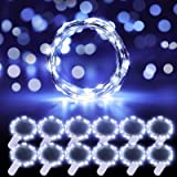 MINGER 12 Packs String Lights, 3.3FT 20 LEDs Cool White Battery Operated Fairy Lights Bedroom Patio Wedding Party Christmas