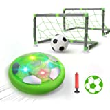 DEERC おもちゃ エアーサッカー ホバーサッカー ゴール付き 充電式 室内ゲーム ボールセット サッカー LEDライト付き 浮力 スポーツ 空気の力で浮く 室内サッカーおもちゃ ギフト 親子ゲーム 子供 男の子 女の子 ギフト クリスマス 誕生日プレゼントKD002(緑)