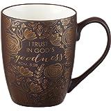 "Brown Bible Verse Mug – Floral Faith Mug for Women & Men, Ceramic Coffee Mug w/Gold Trim & Romans 8:28 Calligraphy – ""I Trust"