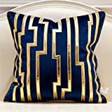 Avigers 20 x 20 Inches Navy Blue Gold Leather Striped Cushion Cases Luxury European Throw Pillow Covers Decorative Pillows fo