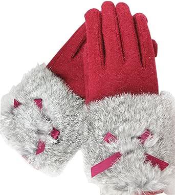 (タリンダ)Talinda ふわふわラビットファー リボン タッチパネル対応 スマホ手袋 レディース 冬 可愛い 厚手 女性防寒手袋 運転運動にも