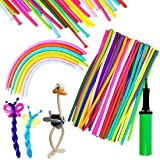 Umikk 150PCS Long Balloons, 260Q Assorted Color Thickening Twisting Balloons with Pump for Animal Balloons Party, Clowns, Wed