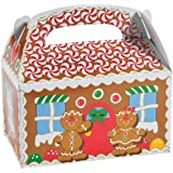 Christmas Treat Boxes, 12 Gingerbread House Cardboard Gable Cookie Boxes - for Candy, Cookies, Xmas Party Favor Supplies for