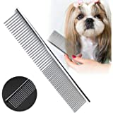 [2 Pack] HEYUS Pet Grooming Comb, Stainless Steel Pet Grooming Massaging Kit Dog Comb Steel Comb Pin Comb Dog Shedding Combs