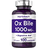 Horbaach Ox Bile 1000 mg 100 Capsules   Non-GMO & Gluten Free   Digestive Enzymes Supplement, Purified Bile Salts for Gallbla