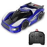 DEERC ラジコンカー こども向け 室内 壁を走る 車 おもちゃ 壁・天井・床 激走カー 赤外線コントロール プレゼント 贈り物 DE31(青赤) (青)