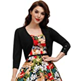 Belle Poque Womens 3/4 Sleeve Bolero Shrug Open Front Knit Cropped Cardigan