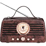 Portable Retro Bluetooth Speaker, FM Radio, Vintage Style Wireless Speaker, Stereo Sound, Bluetooth V4.2, with Built-in Mic,