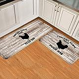 Vintage Wood Farmhouse Kitchen Rug Mats Non Slip Runner Rug Set of 2 Pieces Waterproof Kitchen Mats for Floor Doorway Bathroo