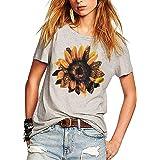 Sunflower Tee Shirts for Women Leopard Print Sunflower Shirt Flower Graphic Short Sleeve Casual Blouse
