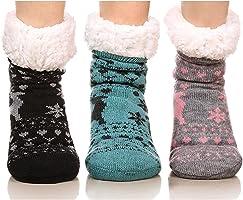 FRALOSHA 3組 レディース 鹿 コーラルベルベット 冬 靴下 増粘 暖かく保つ モコモコ ソックス 自宅 睡眠 秋冬 くつした 靴下