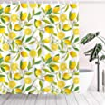 Tititex Yellow Lemon Shower Curtain Sets Fresh Fruit Waterproof Polyester Fabric 69 X 70 Inch Bathroom Decor with Hooks