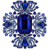 YOQUCOL Vintage Blue Austrian Crystal Rhinestone Brooch Pin Elegant Jewelry for Women Girls
