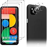 Luibor for Google Pixel 5 Screen Protector[3 Pack]+ for Google Pixel 5 Camera Lens Protector [3 Pack], Anti-fingerprint Anti-