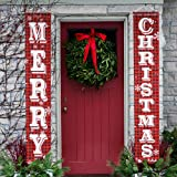 O-Heart Merry Christmas Banner, Buffalo Plaid Christmas Porch Sign Hanging Xmas Decorations Indoor Outdoor for Home Wall Fron
